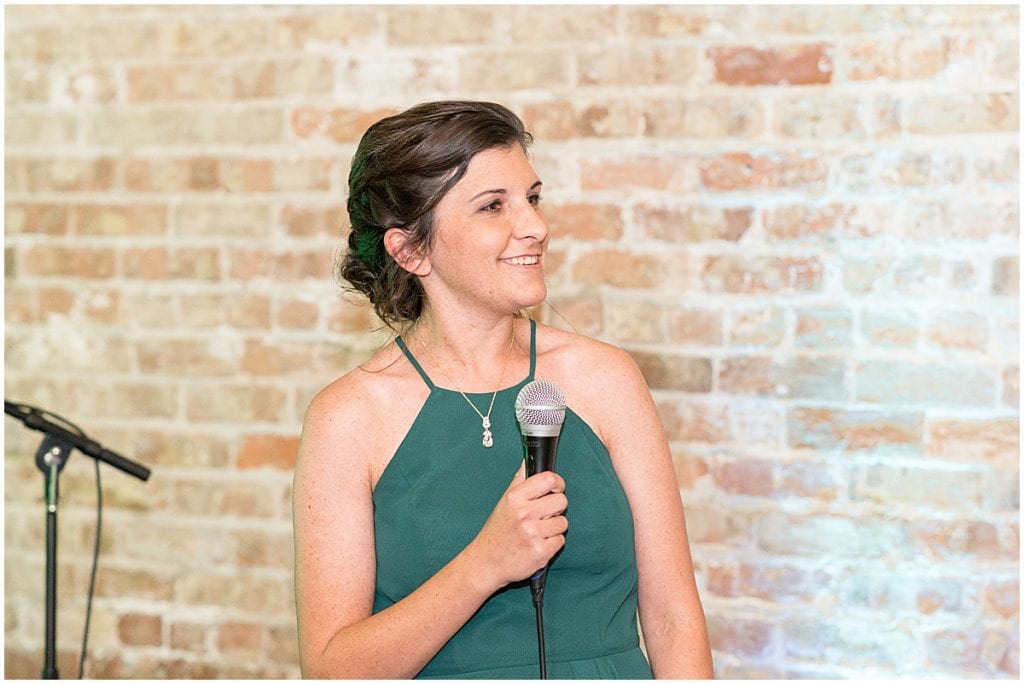 Bridesmaid speech at eMbers Venue wedding reception