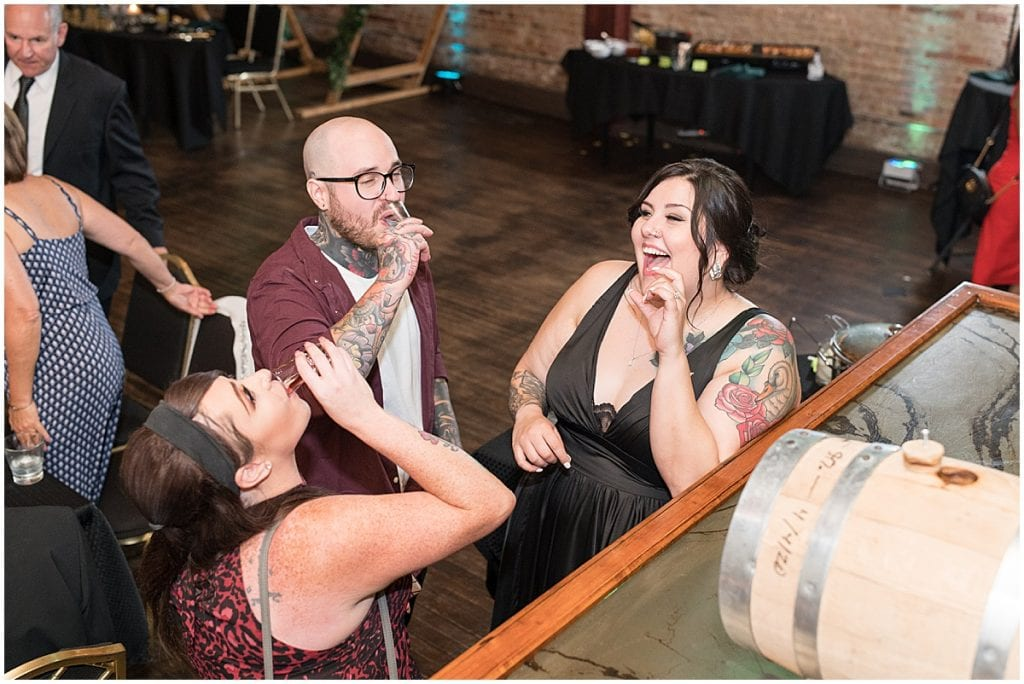 Bride having fun at eMbers Venue wedding reception in Rensselaer, Indiana
