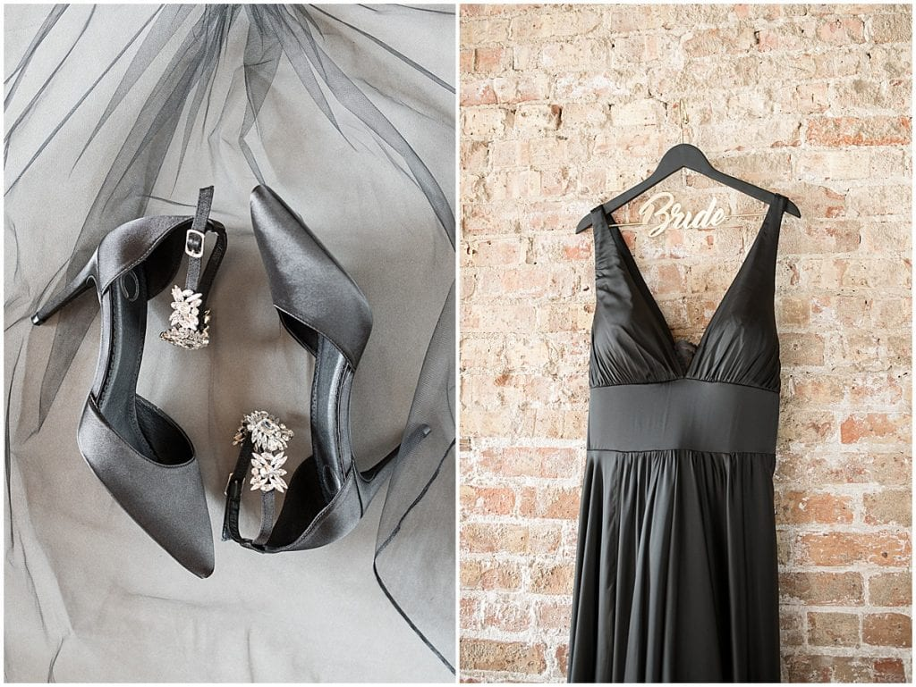 Black wedding dress and accessories for eMbers Venue wedding