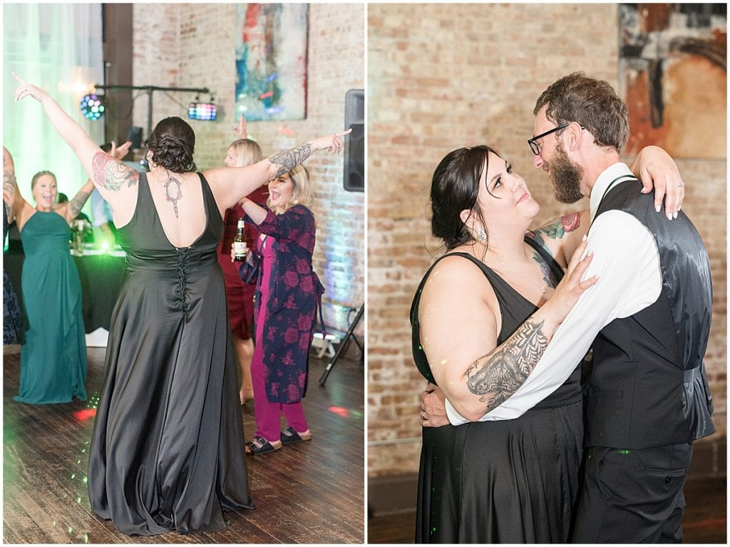 Dancing during eMbers Venue wedding reception in Rensselaer, Indiana