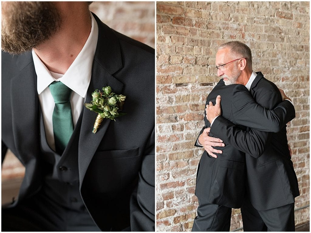 Groom gets ready for eMbers Venue wedding in Rensselaer, Indiana