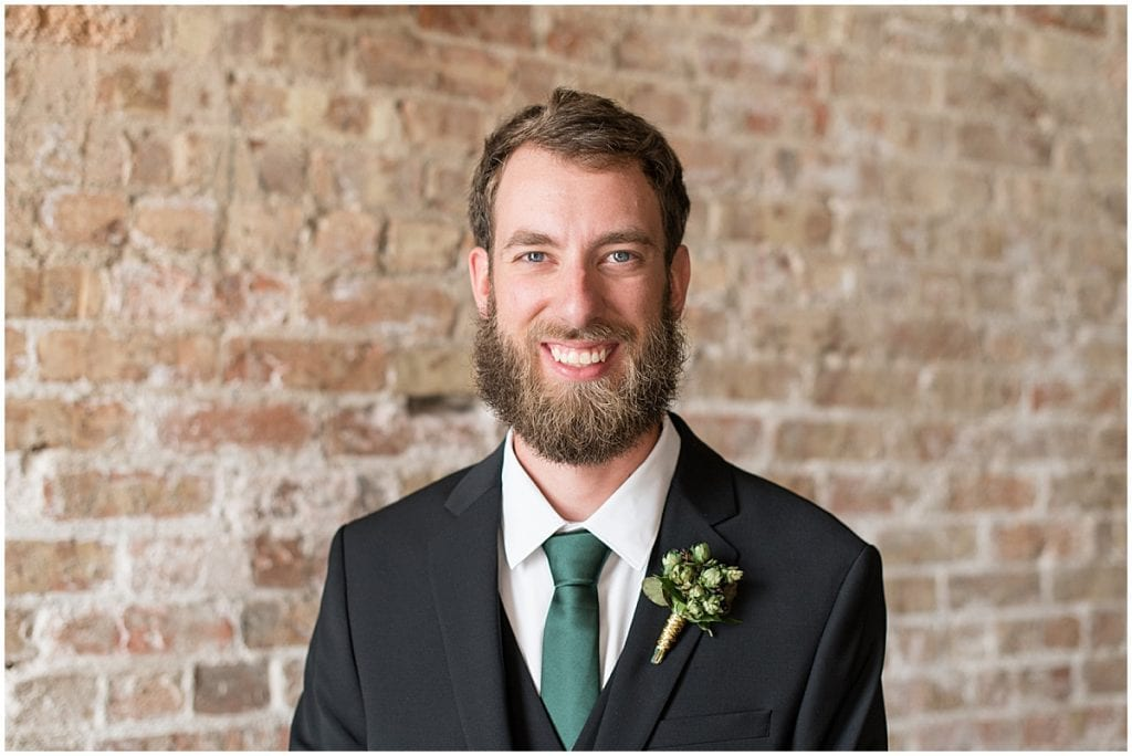 Groom portrait before eMbers Venue wedding in Rensselaer, Indiana
