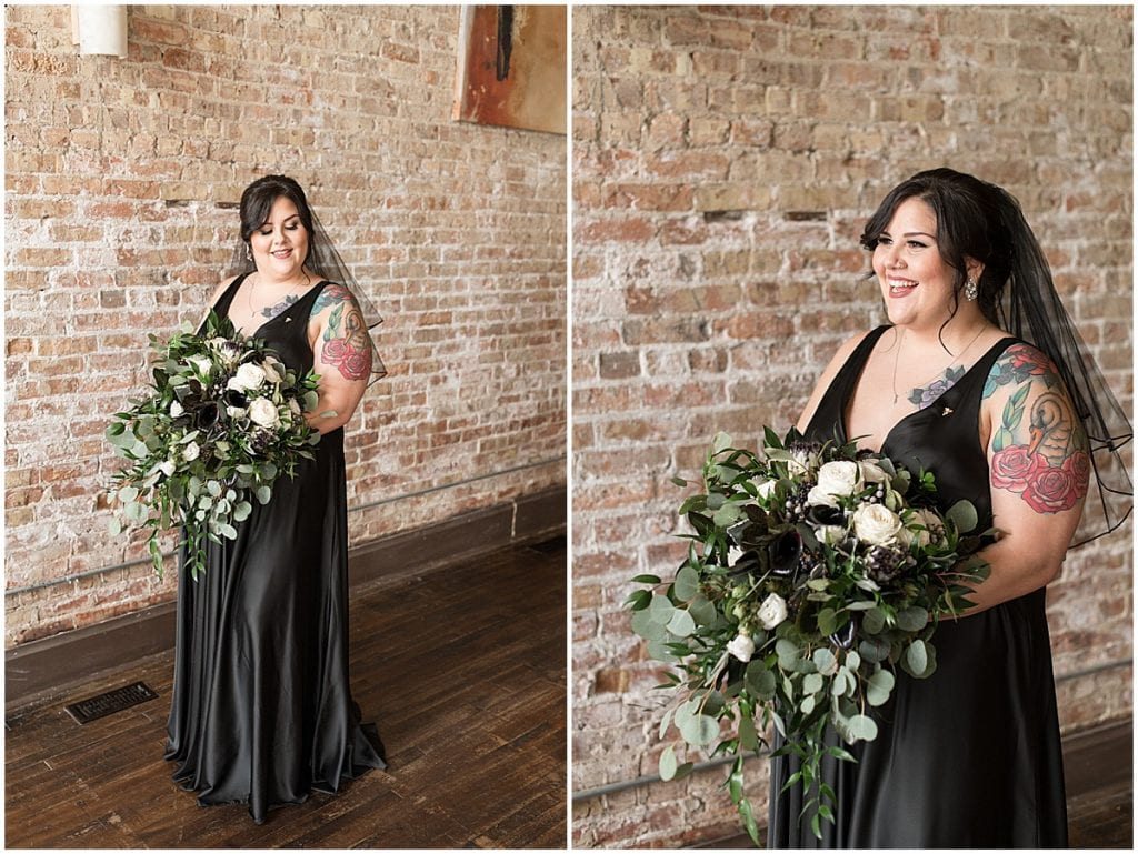 Bride wearing black wedding dress in Rensselaer, Indiana