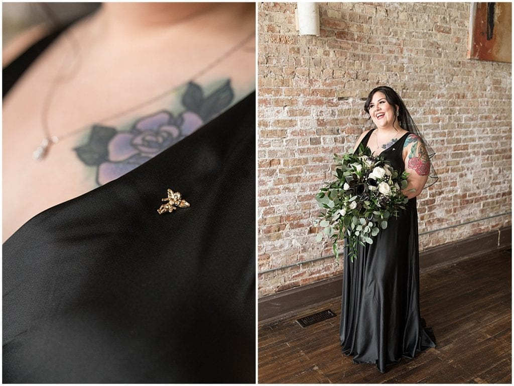 Bride wearing black wedding dress at eMbers Venue wedding
