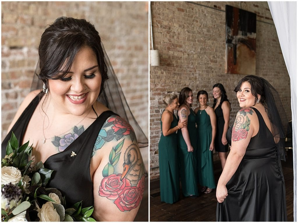 Bridesmaids first look before eMbers Venue wedding in Rensselaer, Indiana