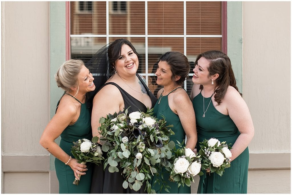 Bride and bridesmaids before wedding in Rensselaer, Indiana