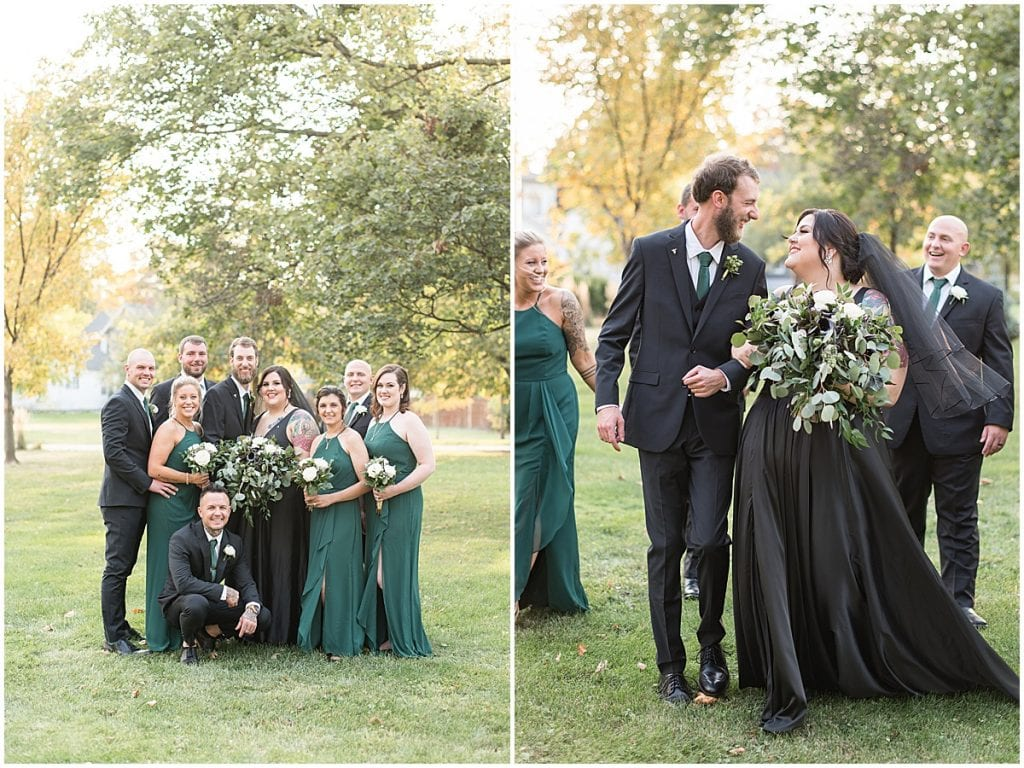 Bride wearing black wedding dress with bridal party in Rensselaer, Indiana