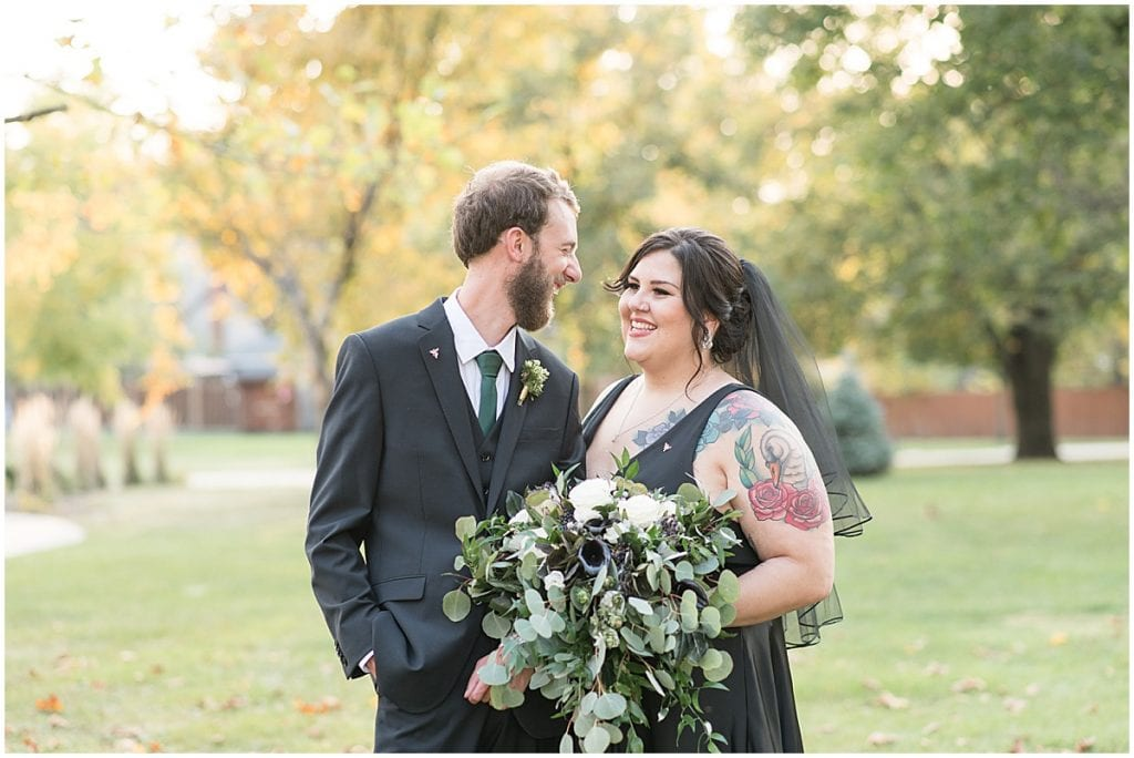 Bride and groom just married photos in Rensselaer, Indiana