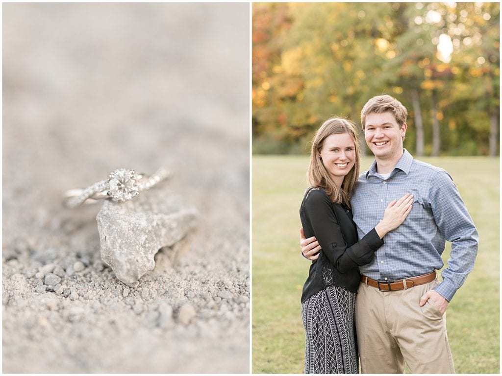 Ring detail and couple from engagement photos at Ross Hills Park in West Lafayette, Indiana