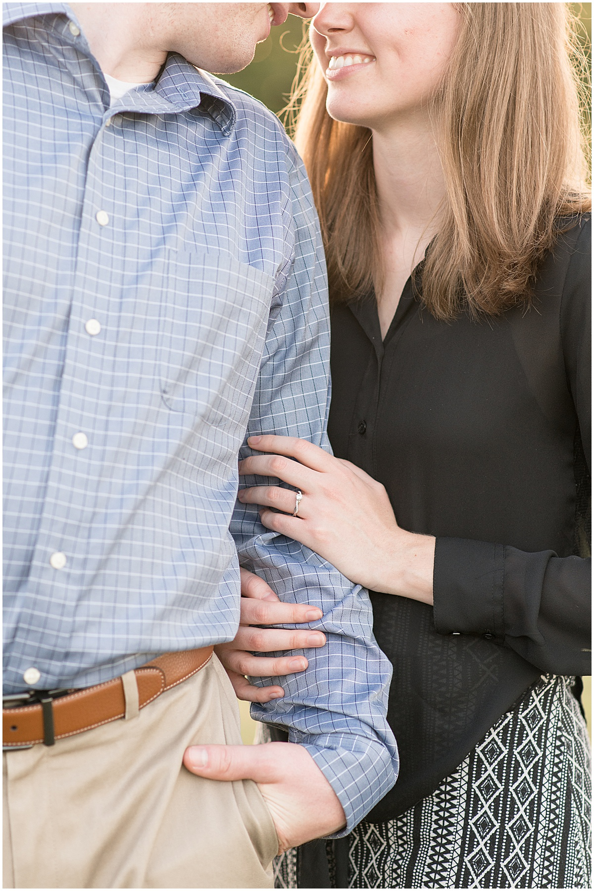 Close up on newly engaged couple at Ross Hills Park in West Lafayette, Indiana