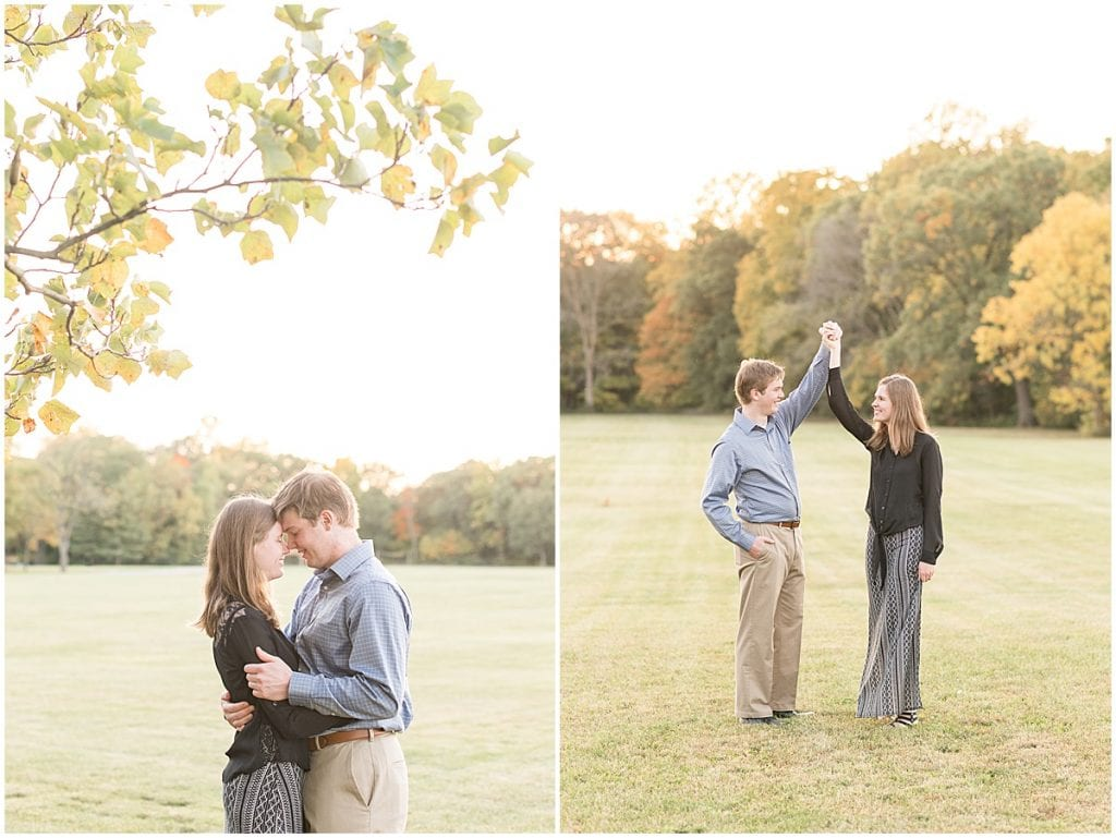 Engaged couple dancing at Ross Hills Park in West Lafayette, Indiana