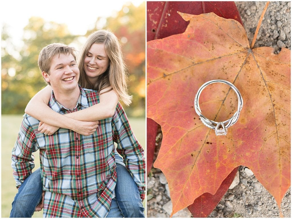 Fall engagement photos at Ross Hills Park in West Lafayette, Indiana