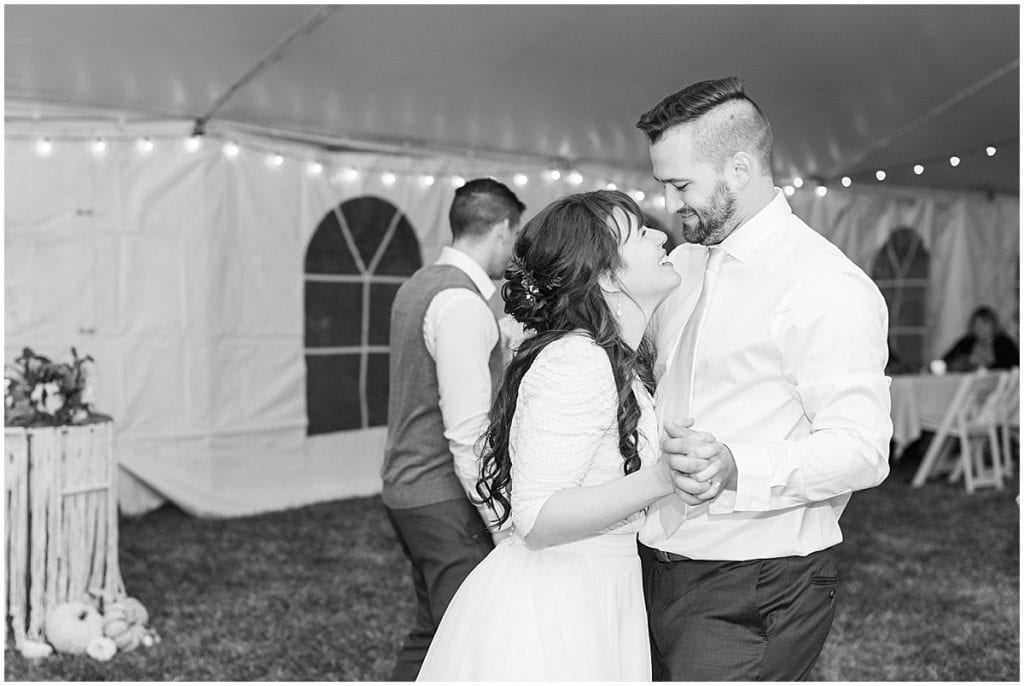 Bride and groom dance during reception in Lafayette, Indiana