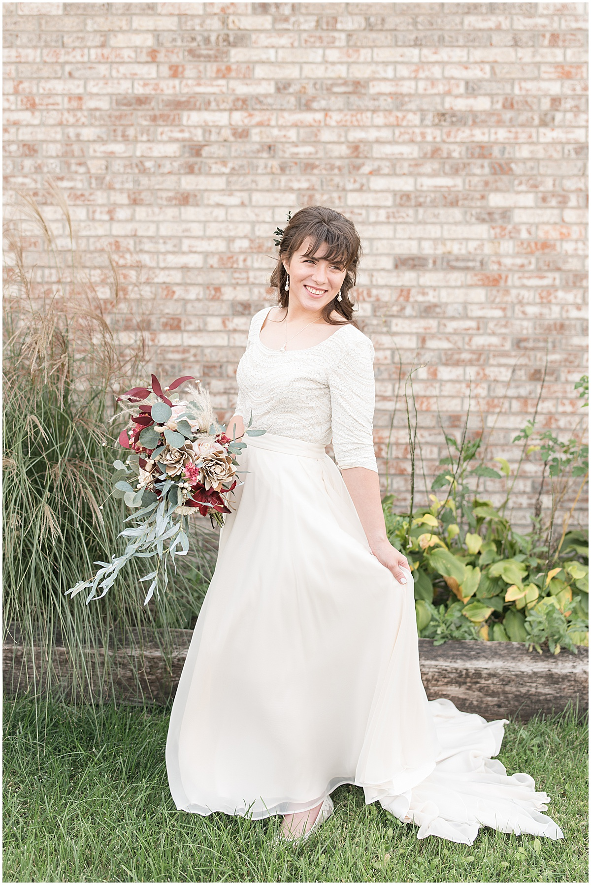 Bridal portraits outside Innovation Church in Lafayette, Indiana