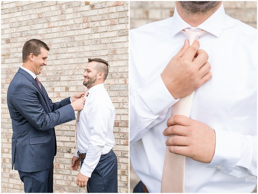 Best man helps groom prepare for ceremony at Innovation Church