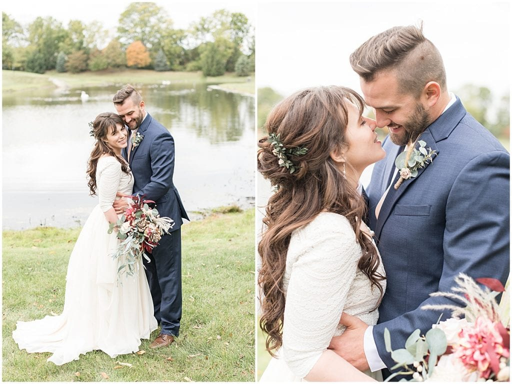 Bride and groom portraits next to pond in Lafayette, Indiana