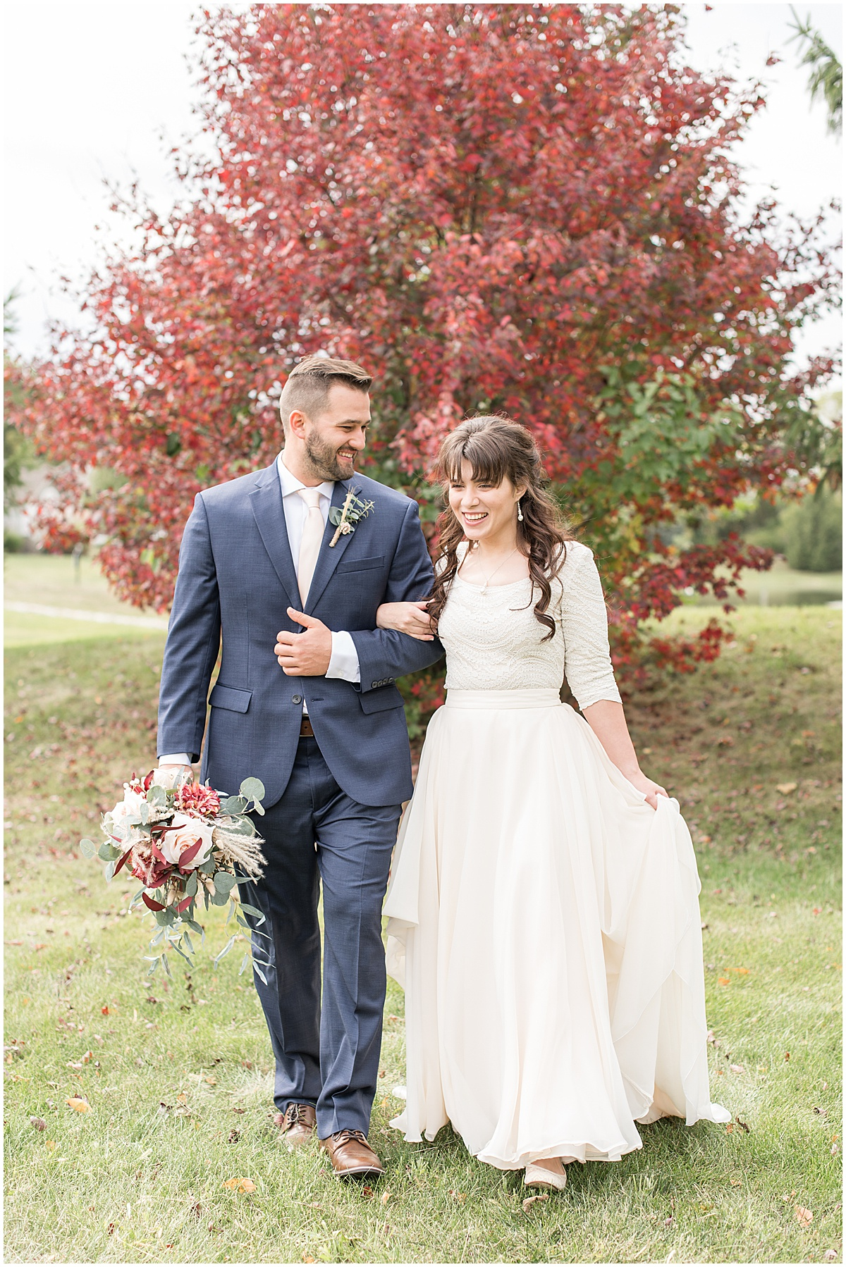 Bride and groom portraits before fall wedding in Lafayette, Indiana
