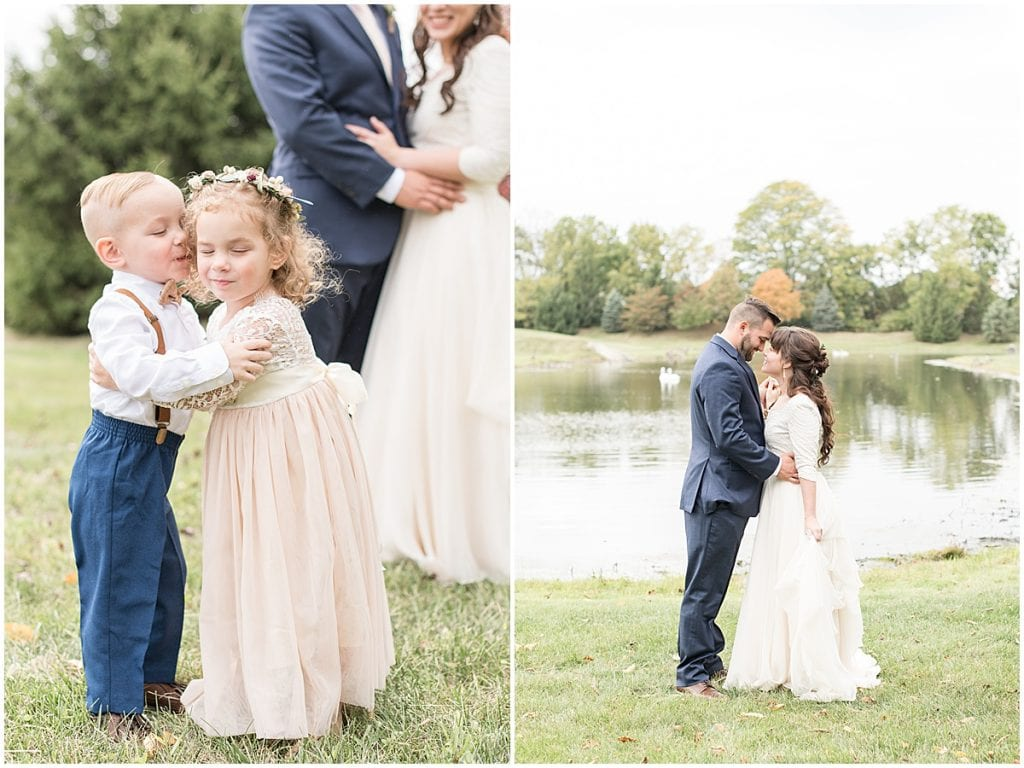 Wedding portraits next to pond in Lafayette, Indiana