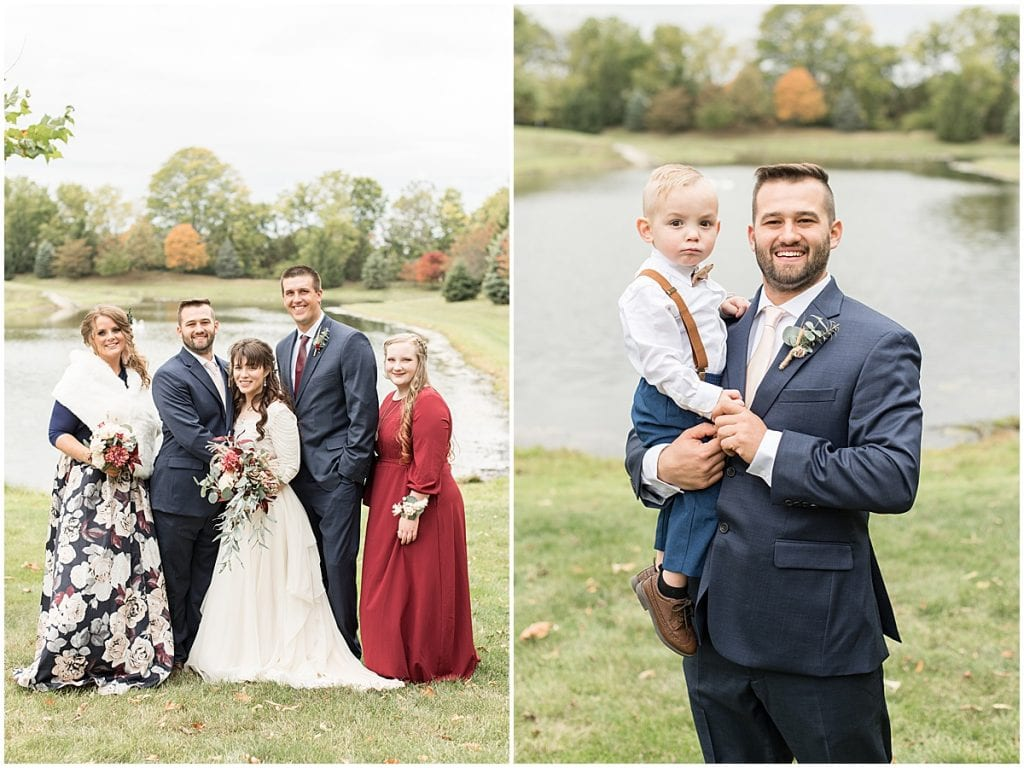Wedding party portraits next to pond in Lafayette, Indiana