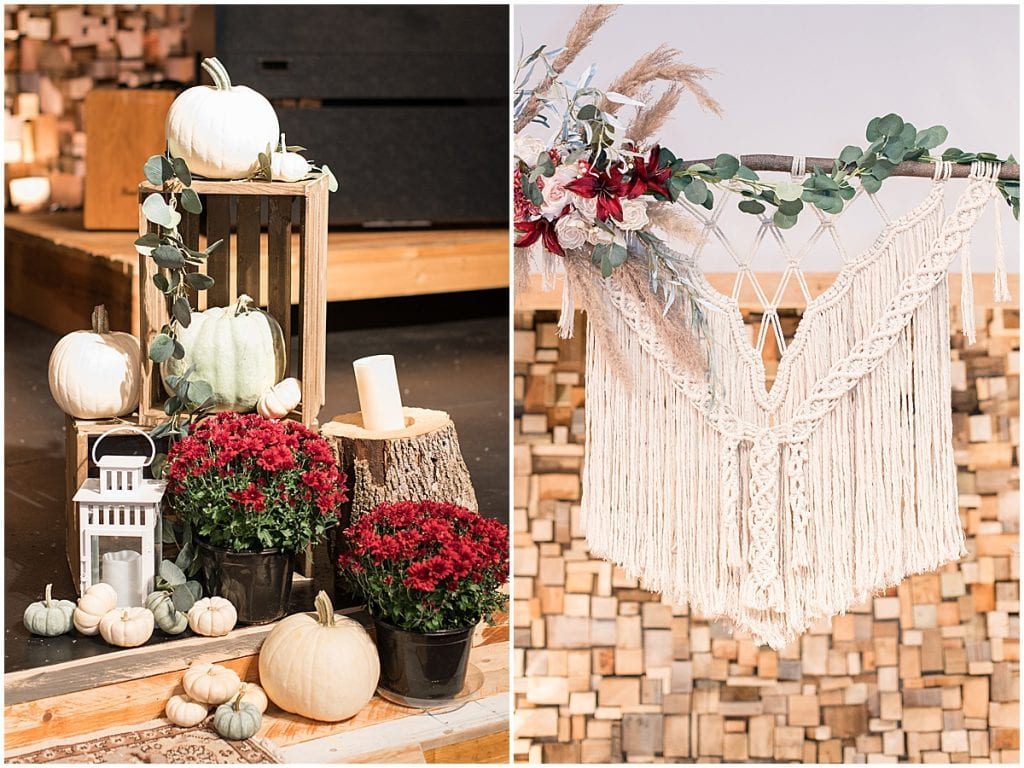 Ceremony details for fall wedding at Innovation Church