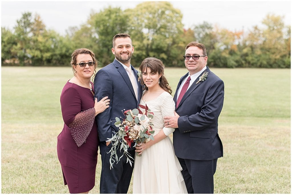 Family portraits after wedding at Innovation Church in Lafayette, Indiana