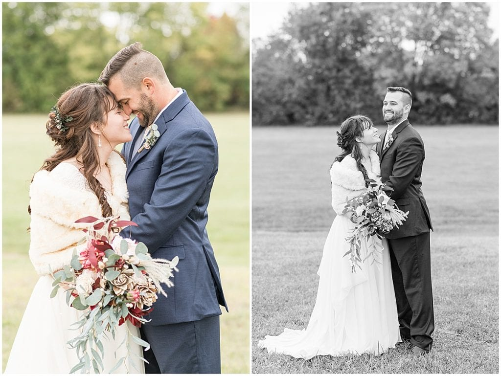 Bride and groom enjoy time together after their fall wedding in Lafayette, Indiana