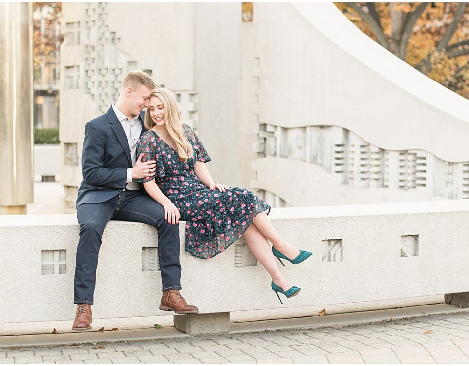 Fall engagement photos at Purdue University by Lafayette, Indiana Wedding Photographer Victoria Rayburn