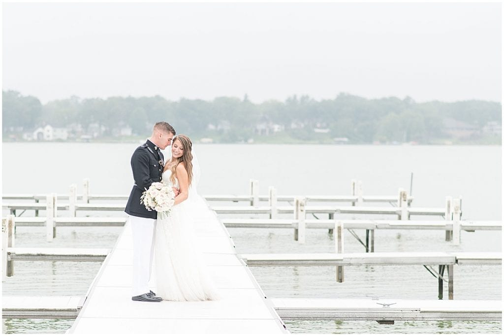 Just married photos after wedding at The Lighthouse Restaurant in Cedar Lake, Indiana by Victoria Rayburn Photography