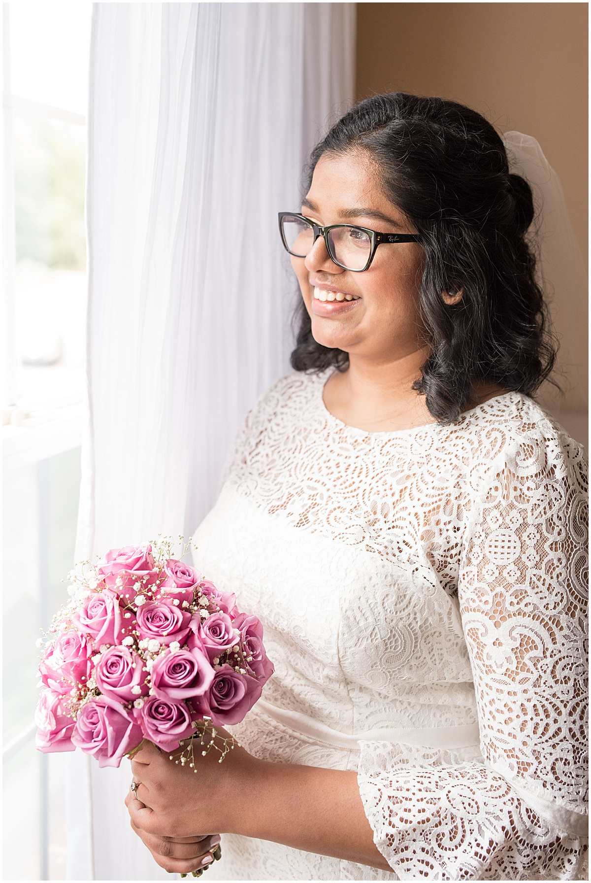 Bride portrait at COVID backyard wedding in West Lafayette, Indiana by Victoria Rayburn Photography