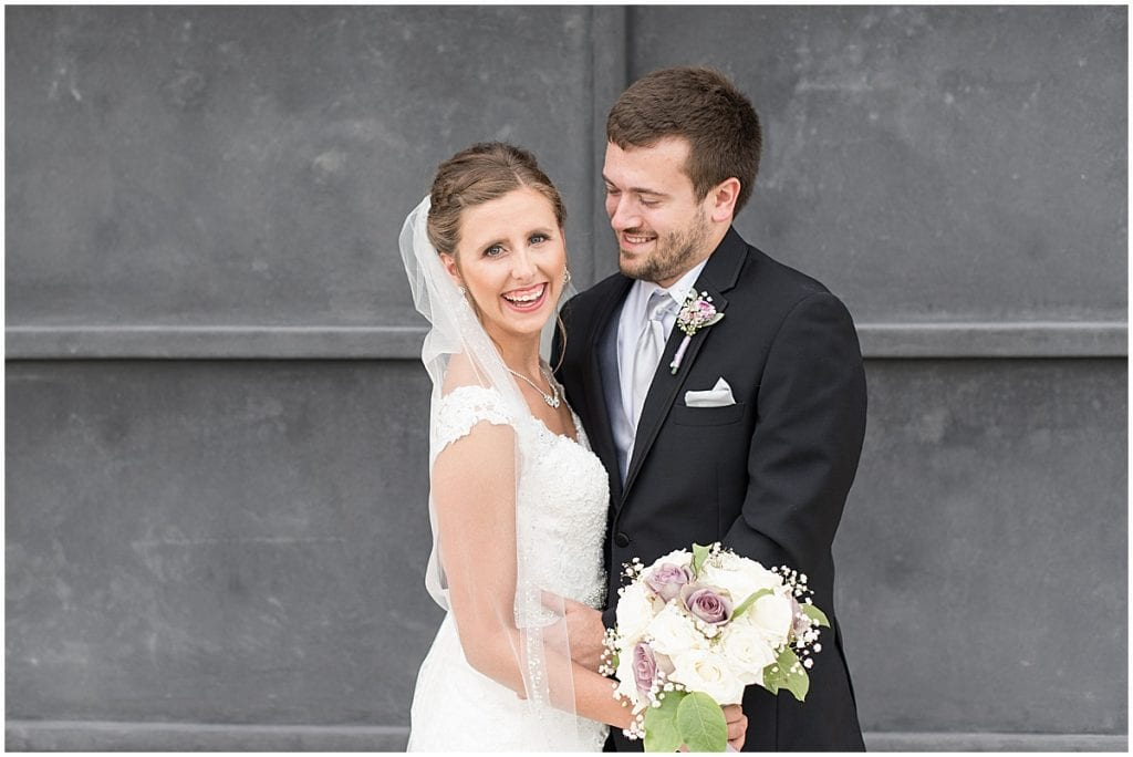 Bride and groom portraits before Bel Air Events wedding in Kokomo, Indiana by Victoria Rayburn Photography