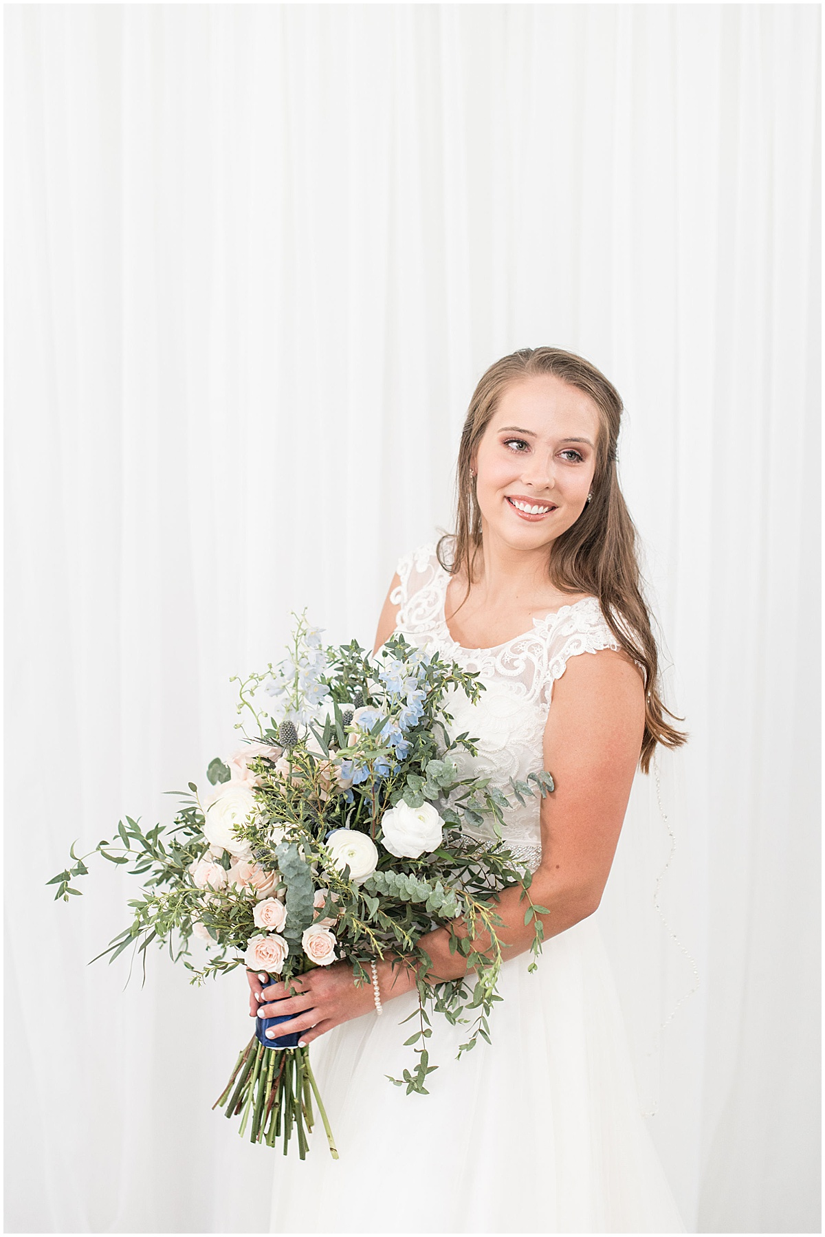 Bride portrait before The Blessing Barn in Lafayette, Indiana by Victoria Rayburn Photography