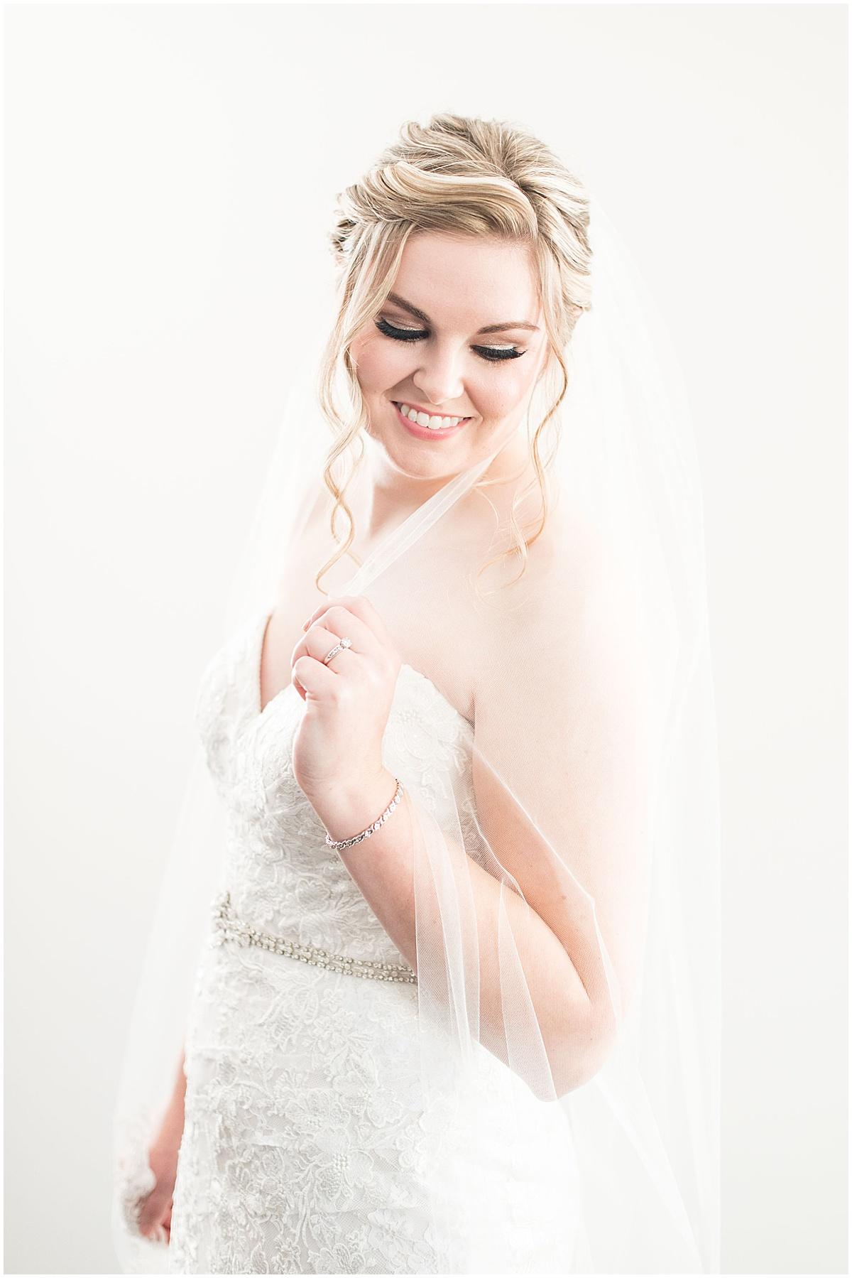Bridal portrait before Cornerstone Christian Church wedding in Brownsburg, Indiana by Victoria Rayburn Photography