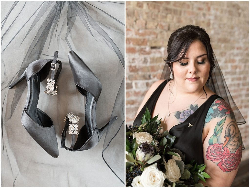 Bridal details for eMbers Venue wedding in Rensselaer, Indiana with a bride wearing black by Victoria Rayburn Photography