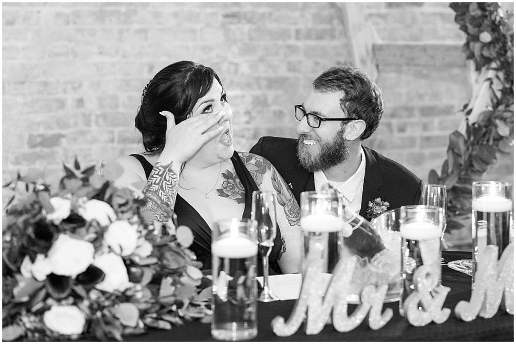 Reception after eMbers Venue wedding in Rensselaer, Indiana with a bride wearing black by Victoria Rayburn Photography