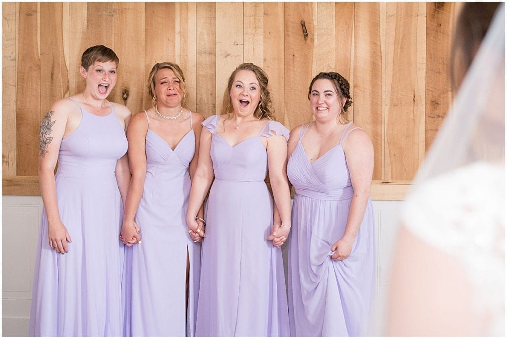 Bridesmaids reaction at Hunny Creek Haven Wedding in Waldron, Indiana by Victoria Rayburn Photography