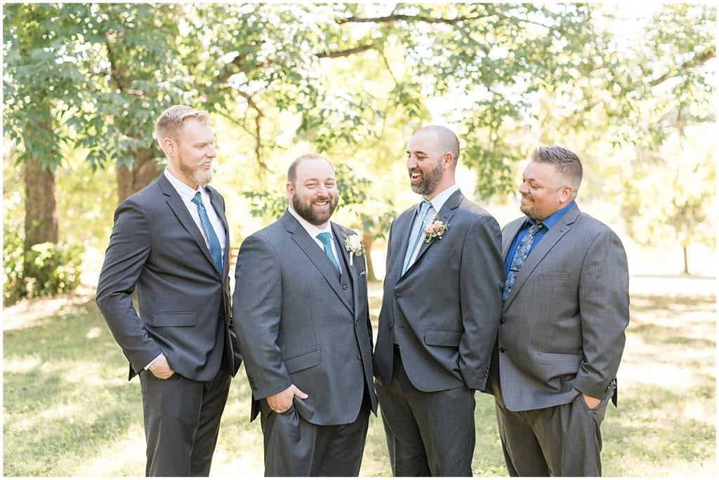 Groomsmen ready for intimate wedding at Holliday Park in Indianapolis by Victoria Rayburn Photography