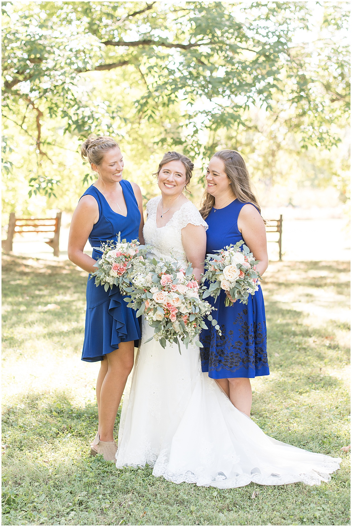 Bridesmaids before intimate wedding at Holliday Park in Indianapolis by Victoria Rayburn Photography