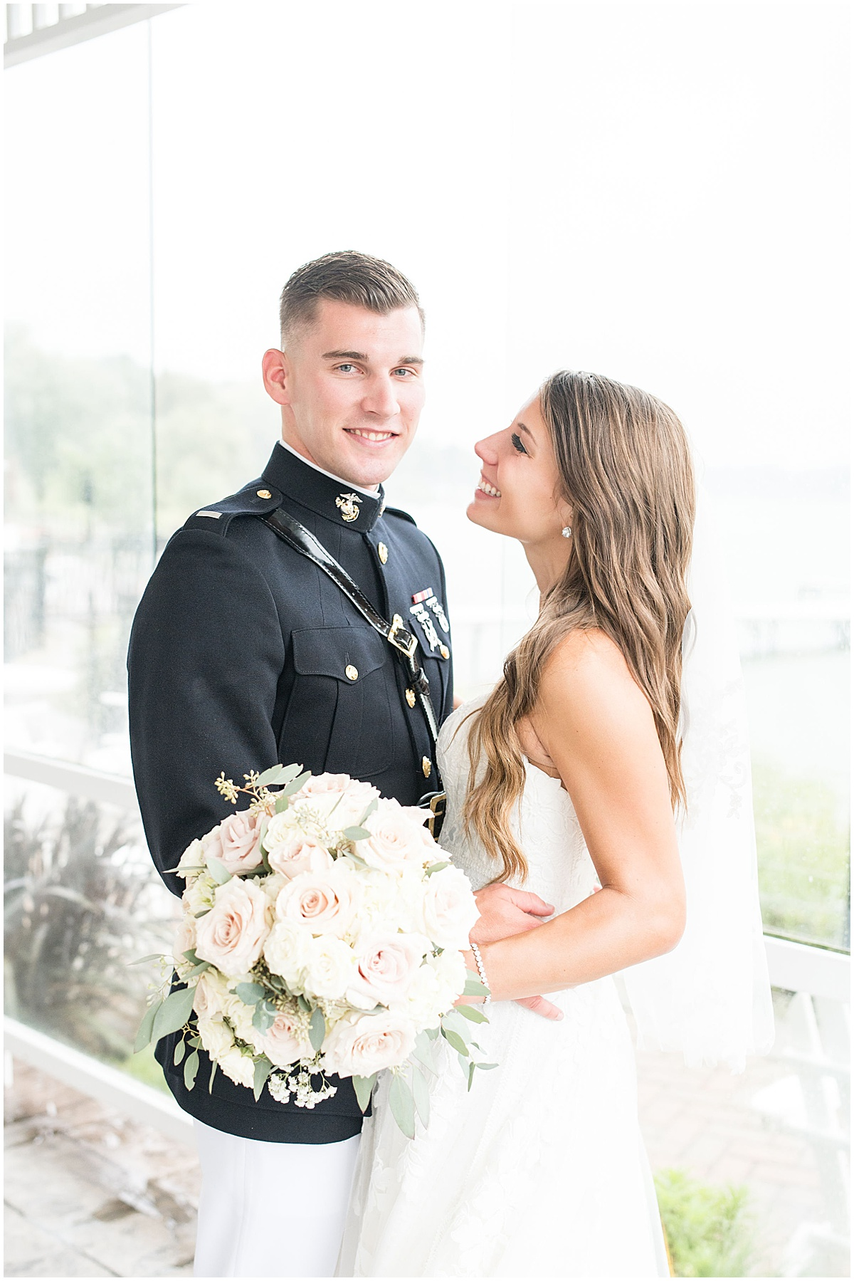 Bride and groom at wedding at The Lighthouse Restaurant in Cedar Lake, Indiana by Victoria Rayburn Photography