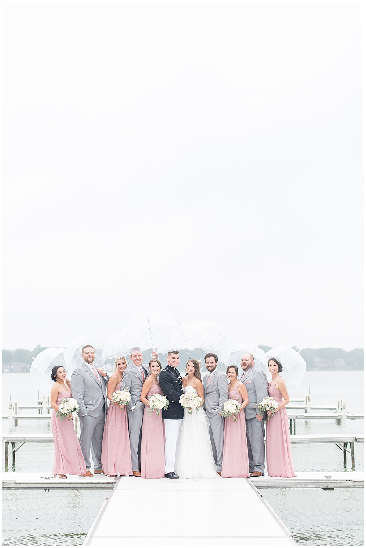 Bridal party on pier before wedding at The Lighthouse Restaurant in Cedar Lake, Indiana by Victoria Rayburn Photography