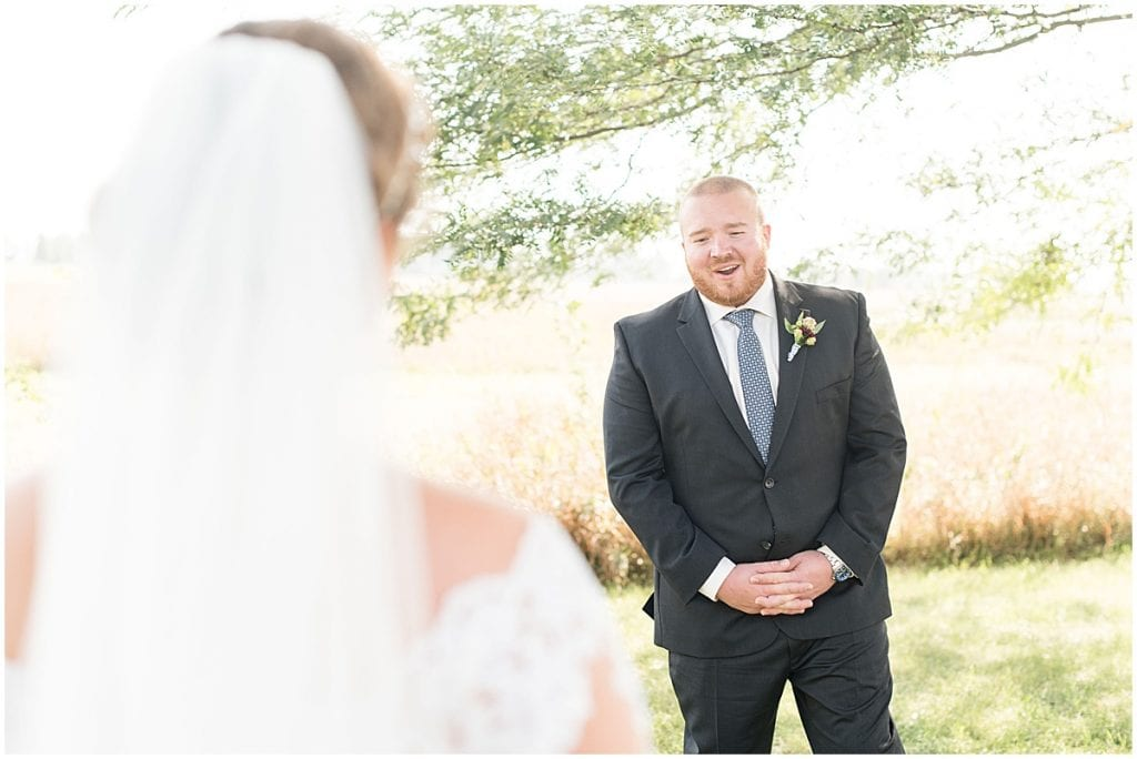 First look before Meadow Springs Manor wedding in Francesville, Indiana by Victoria Rayburn Photography