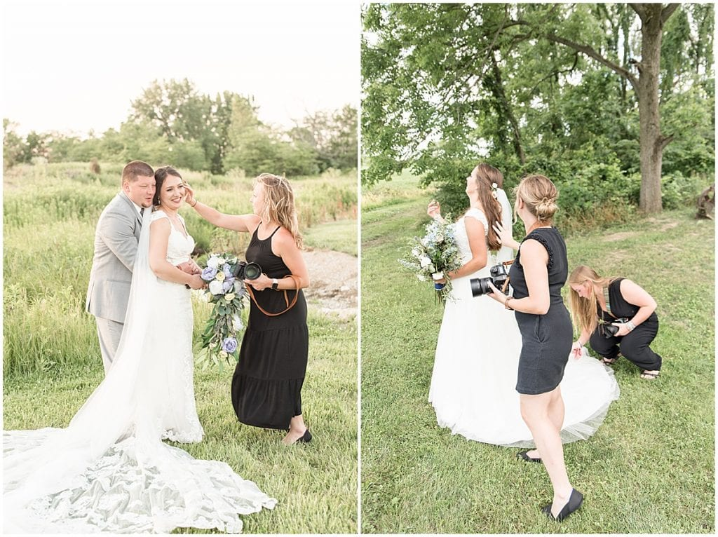 Lafayette, Indiana photographer Victoria Rayburn fluffing veil and fixing hair