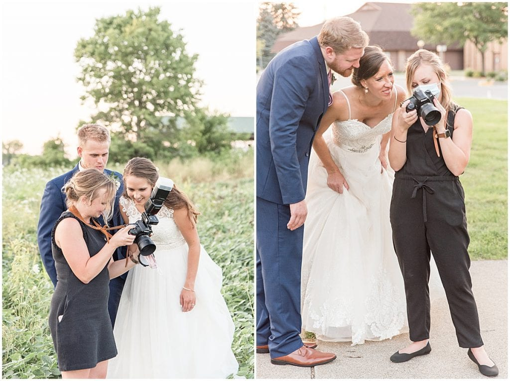 Lafayette, Indiana photographer Victoria Rayburn showing couples the back of the camera