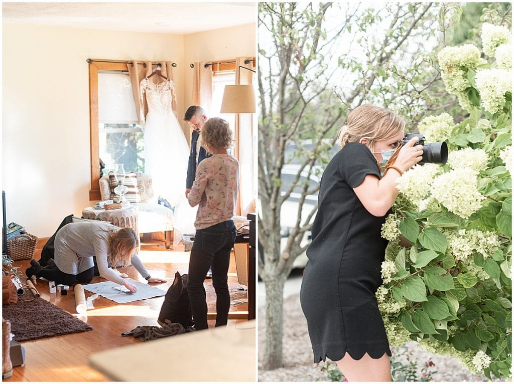 Lafayette, Indiana photographer Victoria Rayburn photographing details and shooting through a bush
