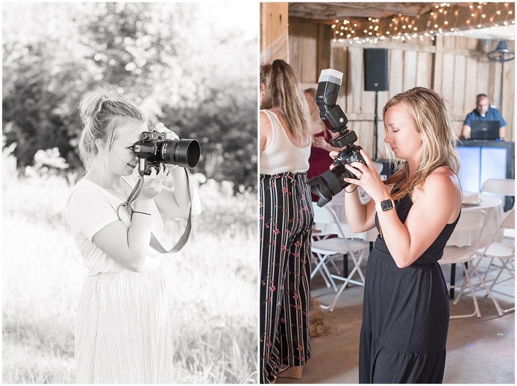 Victoria Rayburn smiling behind the camera and reviewing photos during reception
