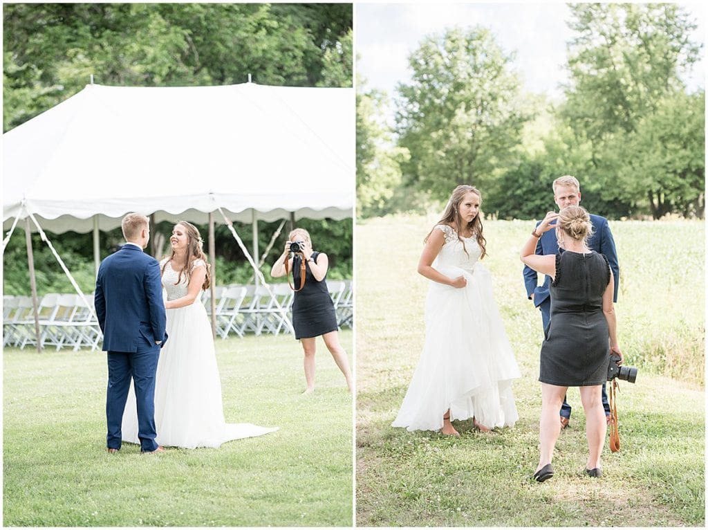 Victoria Rayburn—Lafayette, Indiana wedding photographer—photographing first look and giving bride and groom instructions