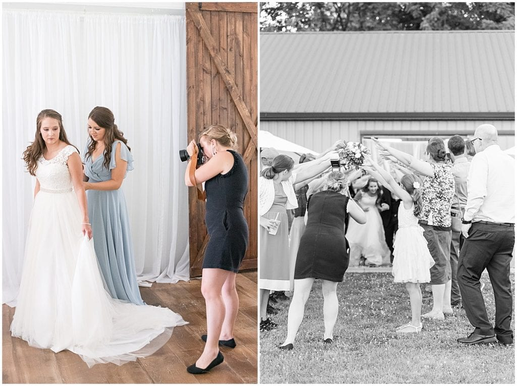 Victoria Rayburn—Lafayette, Indiana wedding photographer—photographing bride getting ready and bride and groom exiting reception