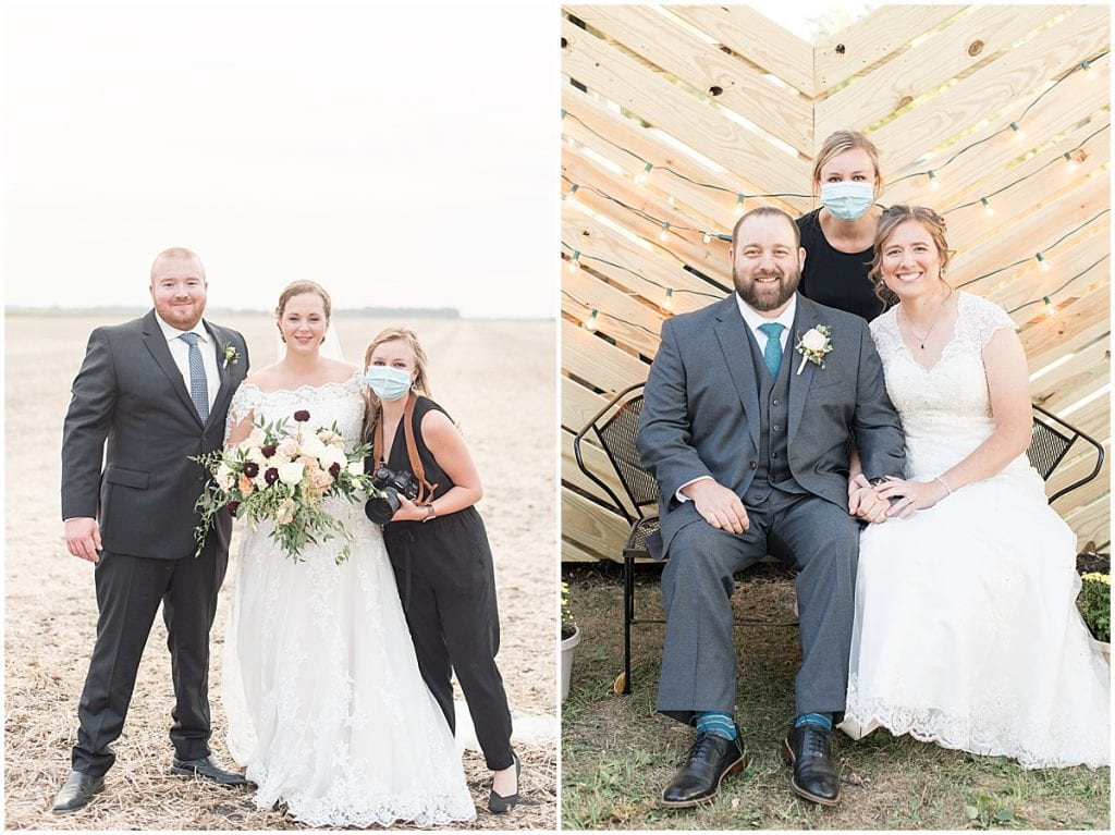Lafayette, Indiana photographer Victoria Rayburn with bride and groom