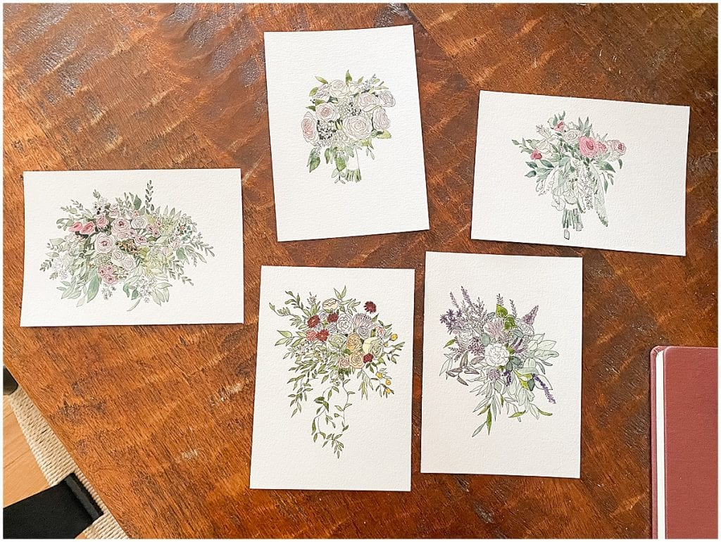 Custom bouquet paintings for Victoria Rayburn Photography couples by Roseberry and Co