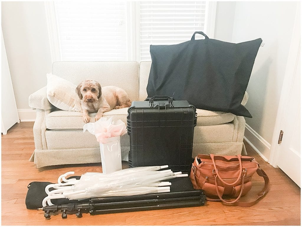 Victoria Rayburn's gear packed for a wedding