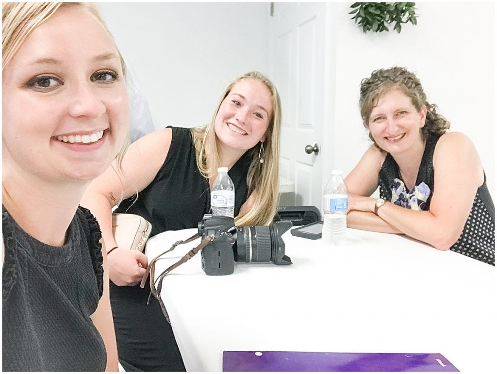 Victoria Rayburn with Heather Corbin and Katey Roth taking a break during photographing a wedding